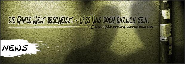 """News: Schriftzug: """"Die ganze Welt bescheisst - lass uns doch ehrlich sein"""" auf einer Straßenwand mit den Schatten der Moderatoren"""